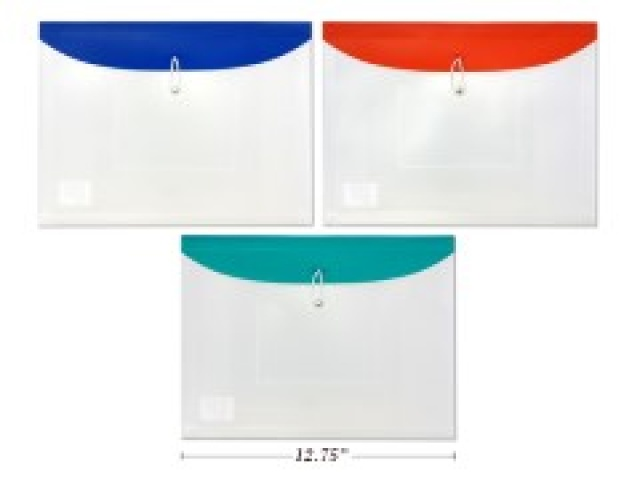 ENVELOPE 12.75X9.75 ELASTIC STRING,CD+OUTSIDE PKT  T ASST CLR\