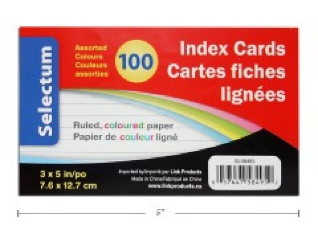 COLOURED INDX CARDS 3X5RULED100/SHRINK WRAPPED\