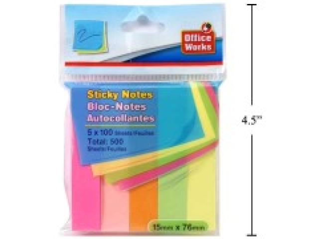 DESK TECH, 100 SHEET ADHESIVE MEMO,5-PACK, 76x15mm