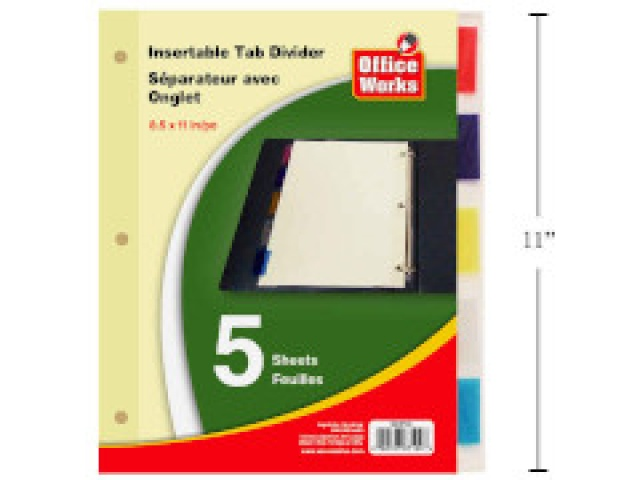Insertable tab dividers 8.5x11 5 pc