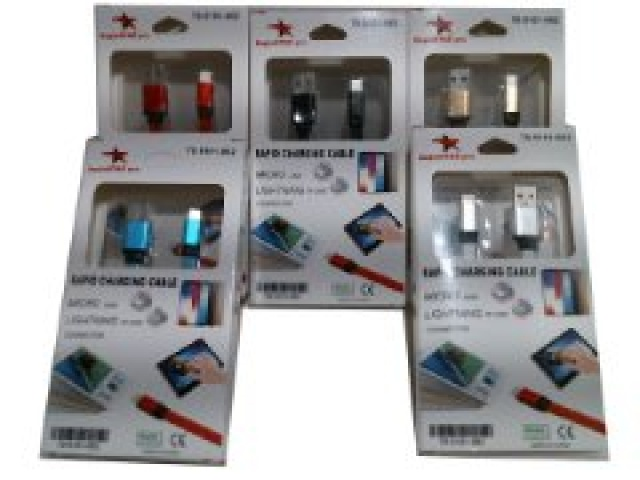 Cable 2 in 1 lightning - microusb to usb 1 metre assorted colours