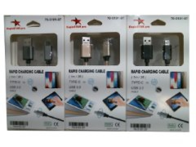 Cable USB type C to 3.0 1 metre 3 feet assorted colours