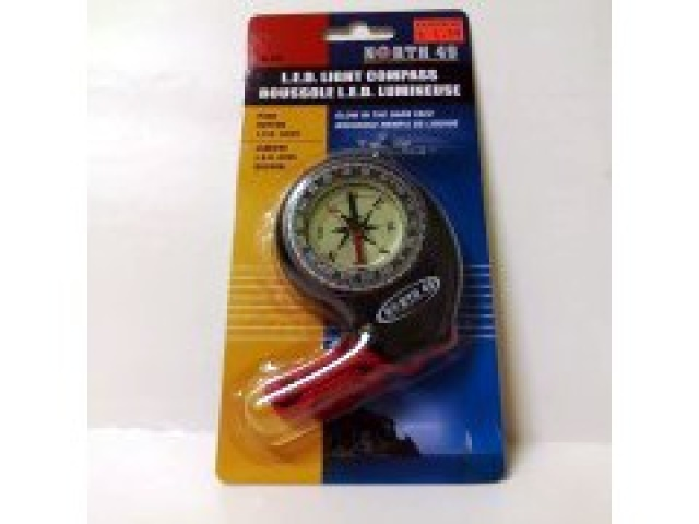 Compass with led light and glow in the dark face
